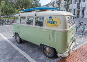 van in parking lot of condos, Harmony Beach Vacation rentals